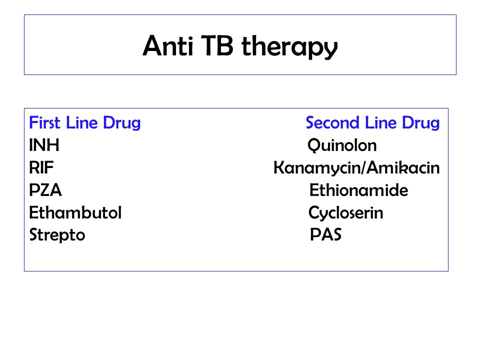 Anti TB therapy First Line Drug Second Line Drug INH Quinolon