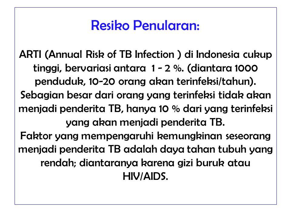 Resiko Penularan: ARTI (Annual Risk of TB Infection ) di Indonesia cukup tinggi, bervariasi antara 1 - 2 %.
