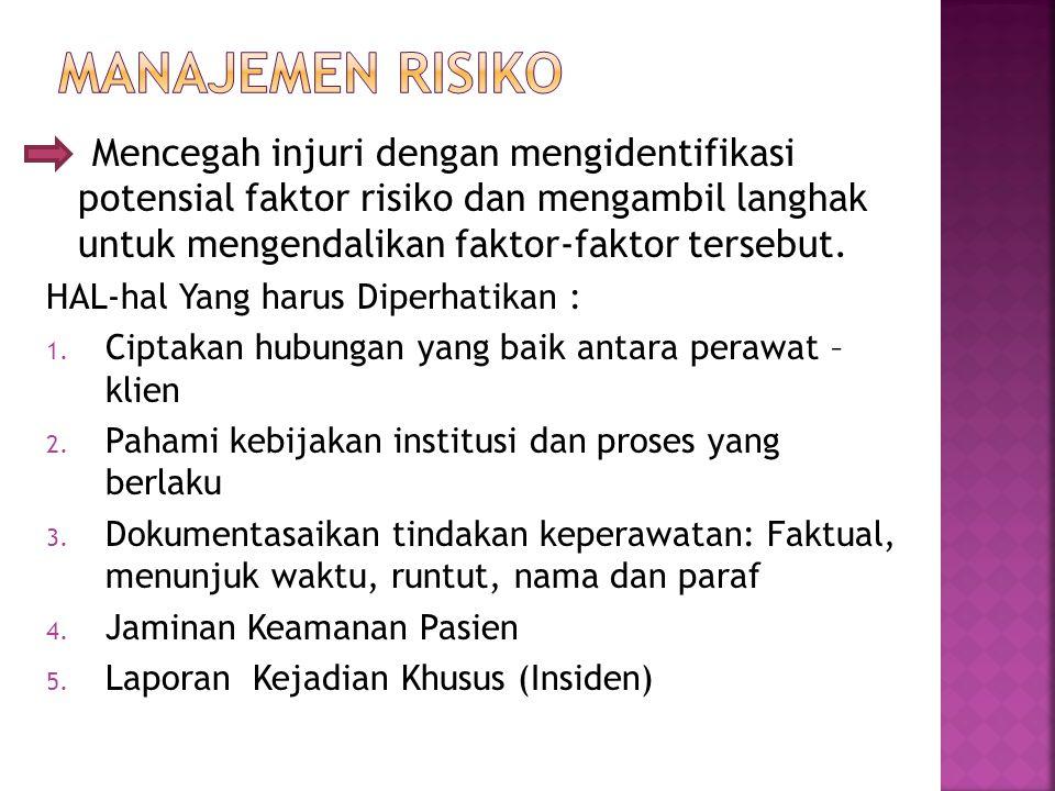 MANAJEMEN RISIKO Mencegah injuri dengan mengidentifikasi potensial faktor risiko dan mengambil langhak untuk mengendalikan faktor-faktor tersebut.