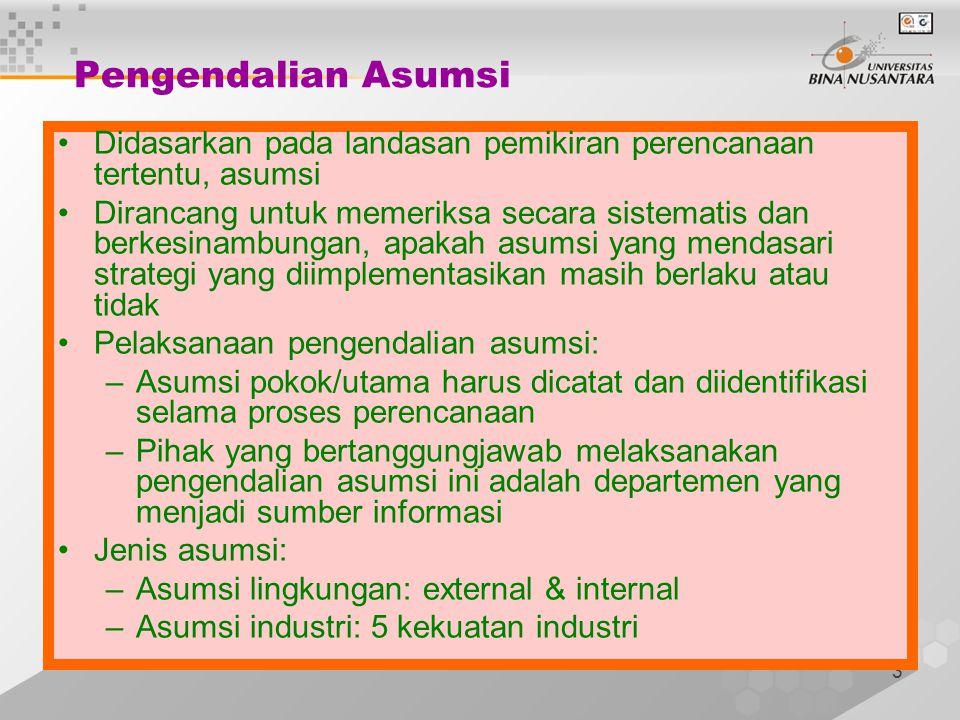 Pengendalian Asumsi Didasarkan pada landasan pemikiran perencanaan tertentu, asumsi.