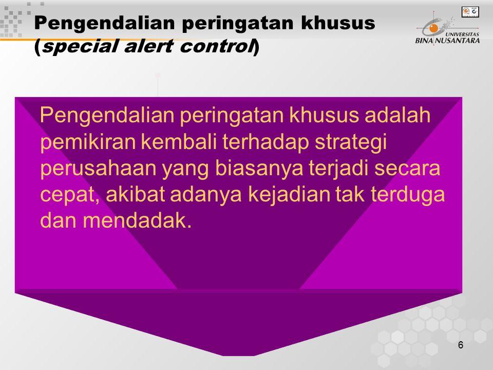 Pengendalian peringatan khusus (special alert control)