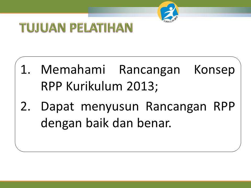 TUJUAN PELATIHAN Memahami Rancangan Konsep RPP Kurikulum 2013; Dapat menyusun Rancangan RPP dengan baik dan benar.
