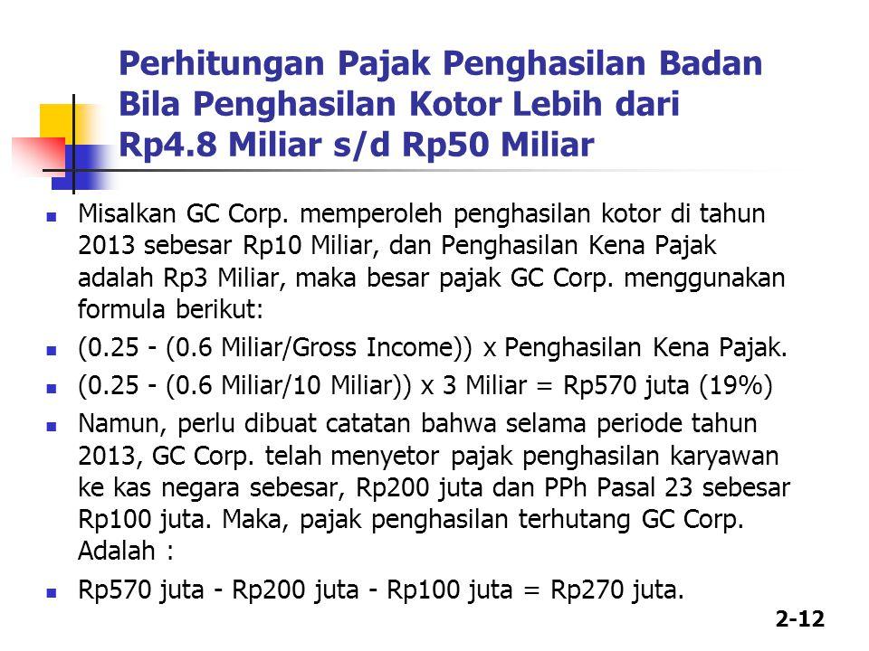Perhitungan Pajak Penghasilan Badan Bila Penghasilan Kotor Lebih dari Rp4.8 Miliar s/d Rp50 Miliar