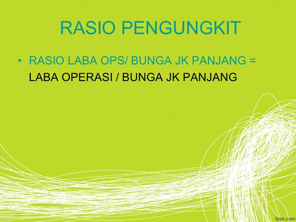 RASIO PENGUNGKIT RASIO LABA OPS/ BUNGA JK PANJANG =
