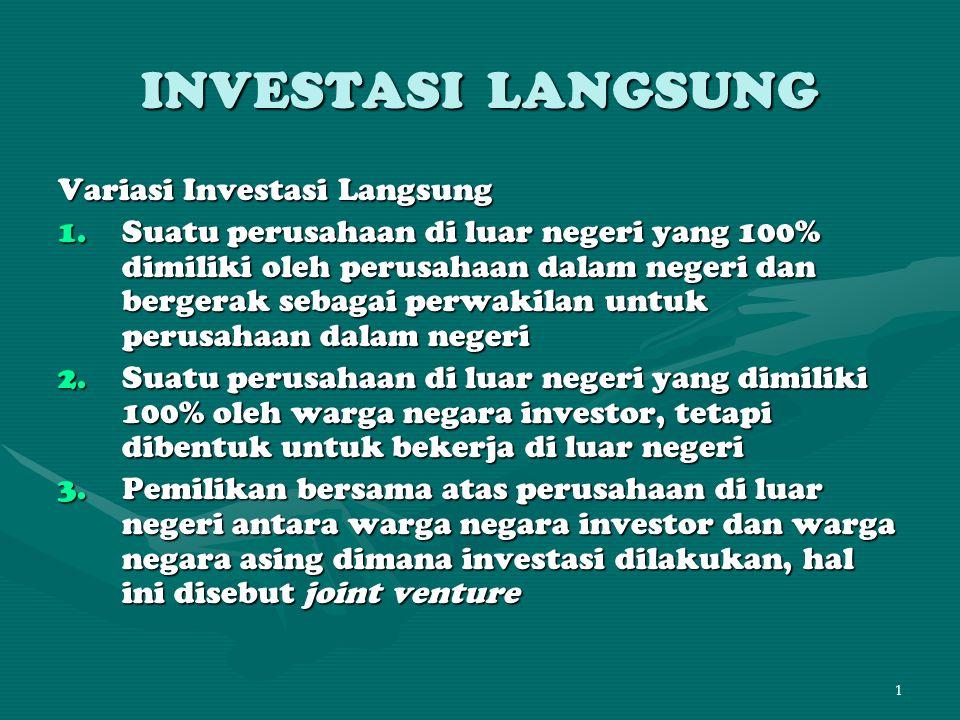 INVESTASI LANGSUNG Variasi Investasi Langsung