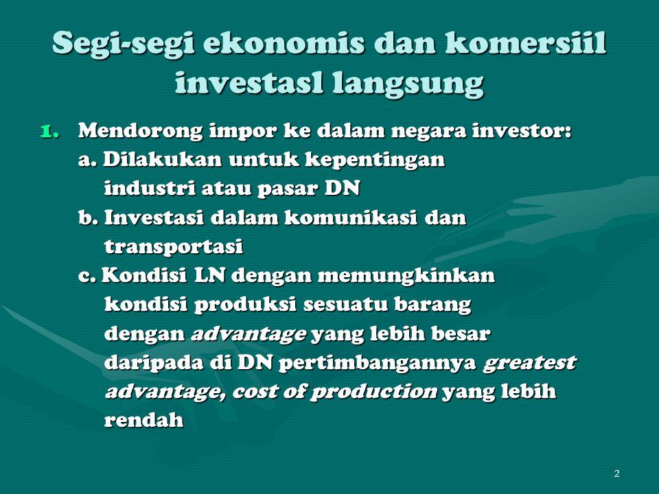 Segi-segi ekonomis dan komersiil investasl langsung