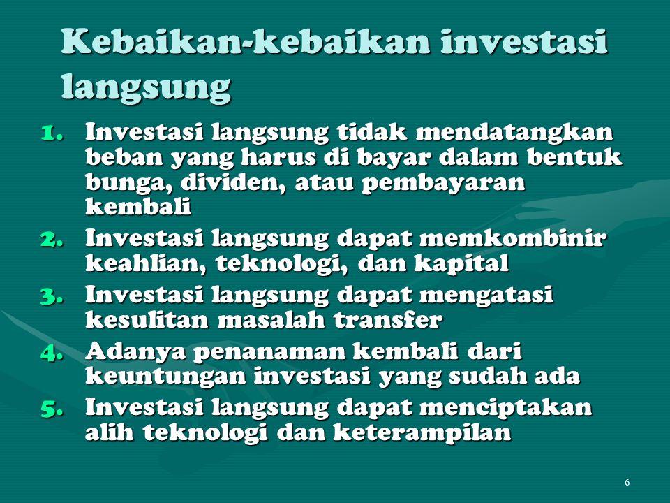 Kebaikan-kebaikan investasi langsung