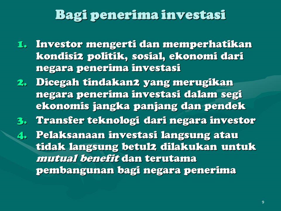 Bagi penerima investasi