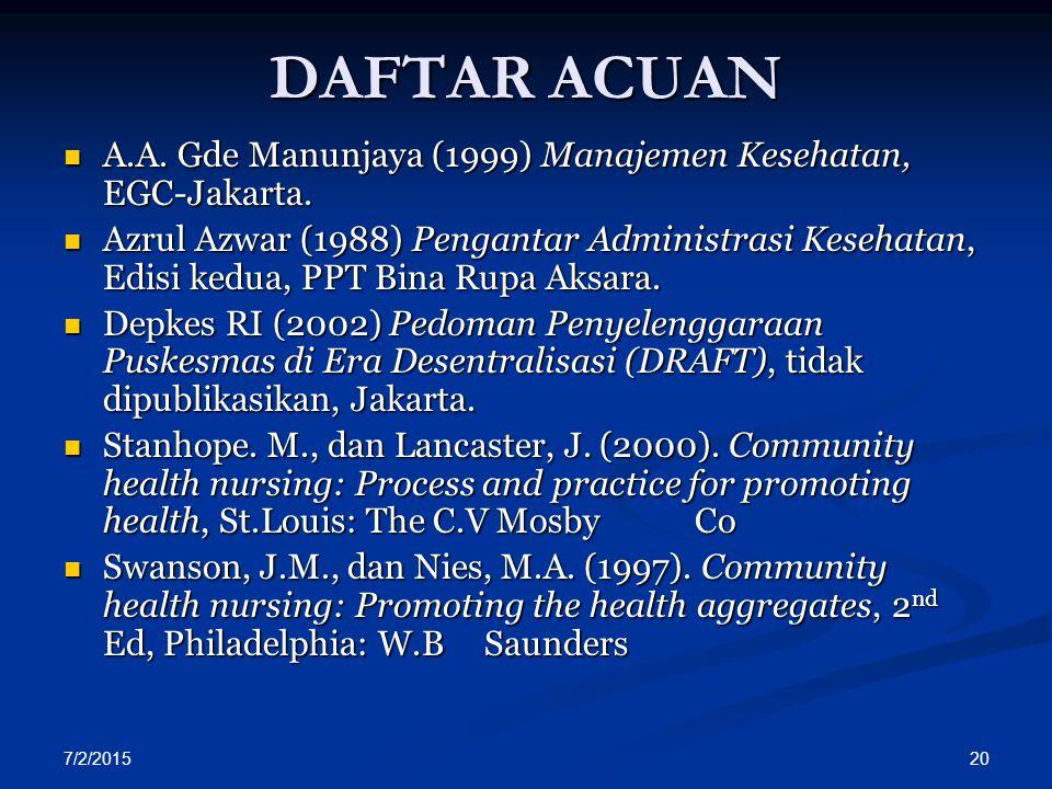 DAFTAR ACUAN A.A. Gde Manunjaya (1999) Manajemen Kesehatan, EGC-Jakarta.