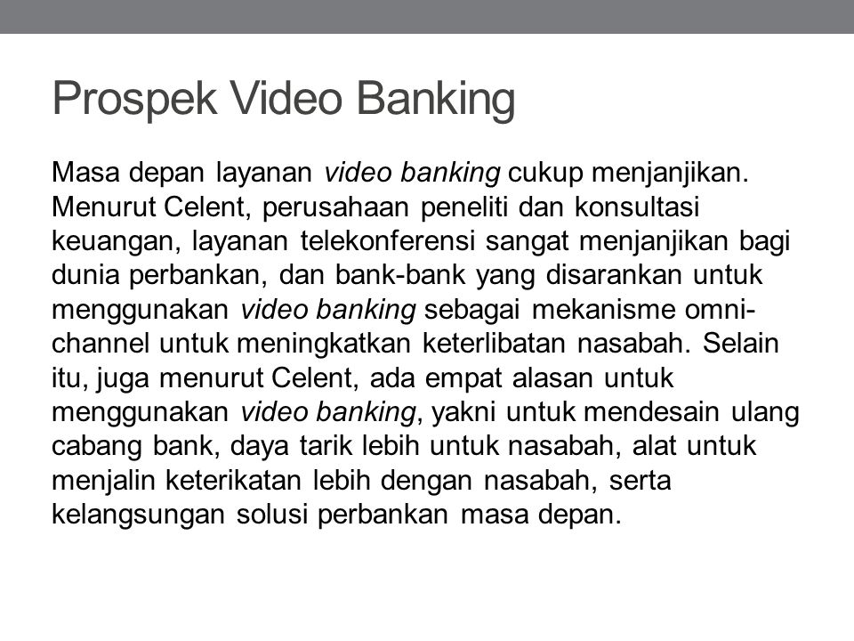 Prospek Video Banking