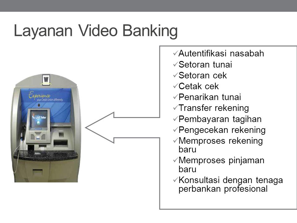 Layanan Video Banking Autentifikasi nasabah Setoran tunai Setoran cek