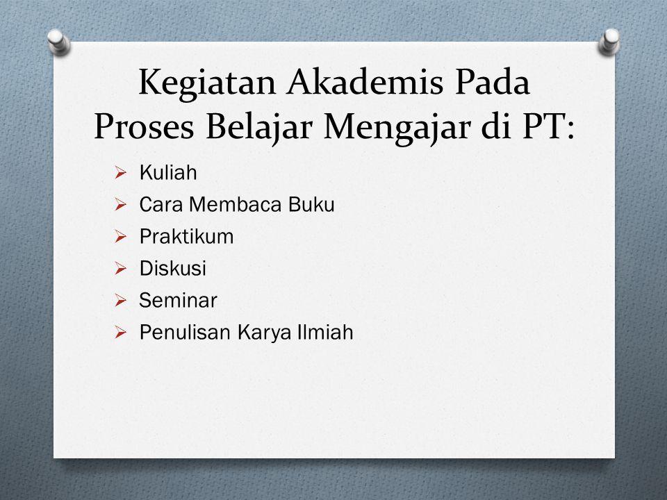 Kegiatan Akademis Pada Proses Belajar Mengajar di PT: