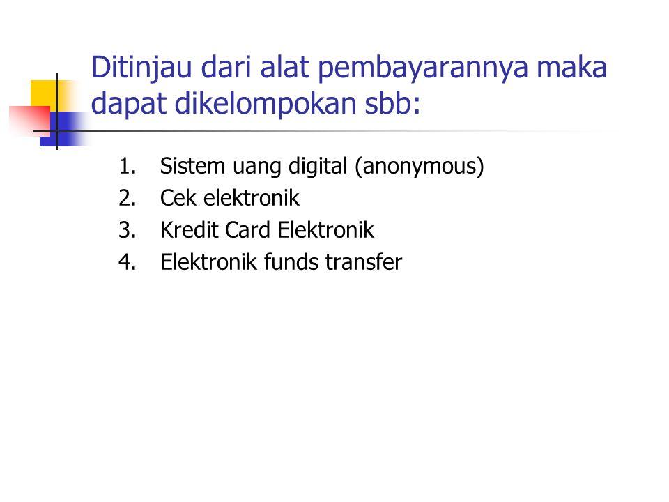 Ditinjau dari alat pembayarannya maka dapat dikelompokan sbb: