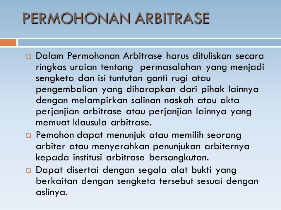 PERMOHONAN ARBITRASE