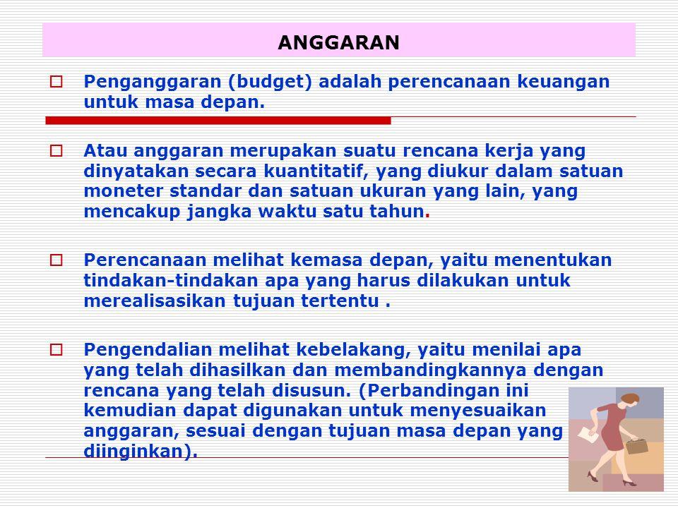 ANGGARAN Penganggaran (budget) adalah perencanaan keuangan untuk masa depan.
