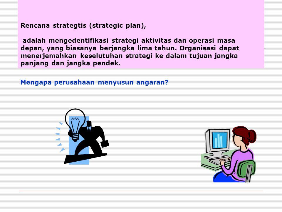 Rencana strategtis (strategic plan), adalah mengedentifikasi strategi aktivitas dan operasi masa depan, yang biasanya berjangka lima tahun. Organisasi dapat menerjemahkan keselutuhan strategi ke dalam tujuan jangka panjang dan jangka pendek.