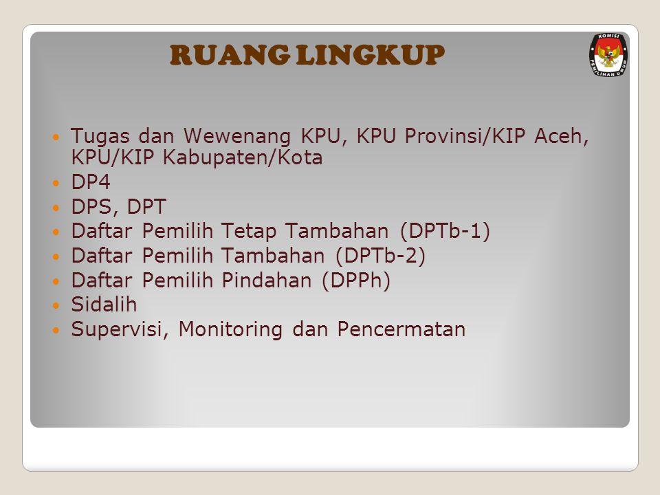 RUANG LINGKUP Tugas dan Wewenang KPU, KPU Provinsi/KIP Aceh, KPU/KIP Kabupaten/Kota. DP4. DPS, DPT.