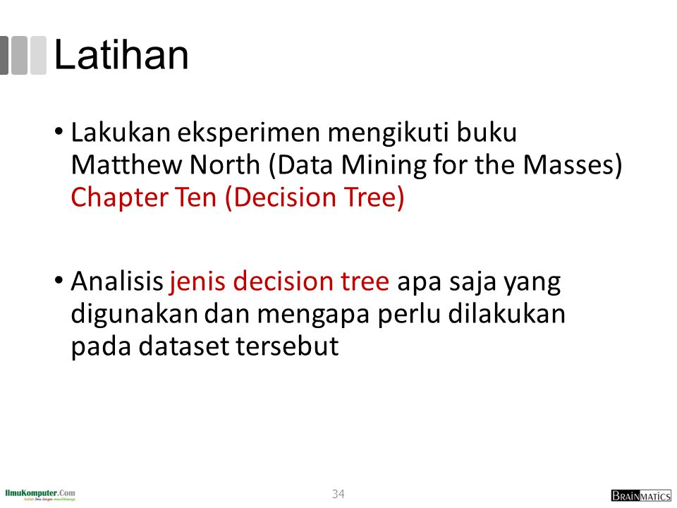 Latihan Lakukan eksperimen mengikuti buku Matthew North (Data Mining for the Masses) Chapter Ten (Decision Tree)