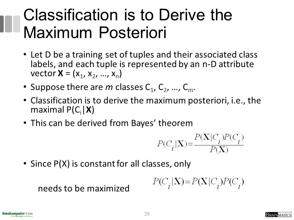 Classification is to Derive the Maximum Posteriori