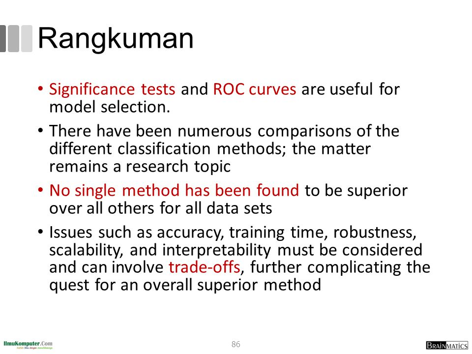 Rangkuman Significance tests and ROC curves are useful for model selection.
