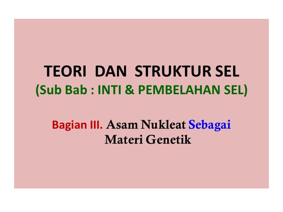 TEORI DAN STRUKTUR SEL (Sub Bab : INTI & PEMBELAHAN SEL) Bagian III