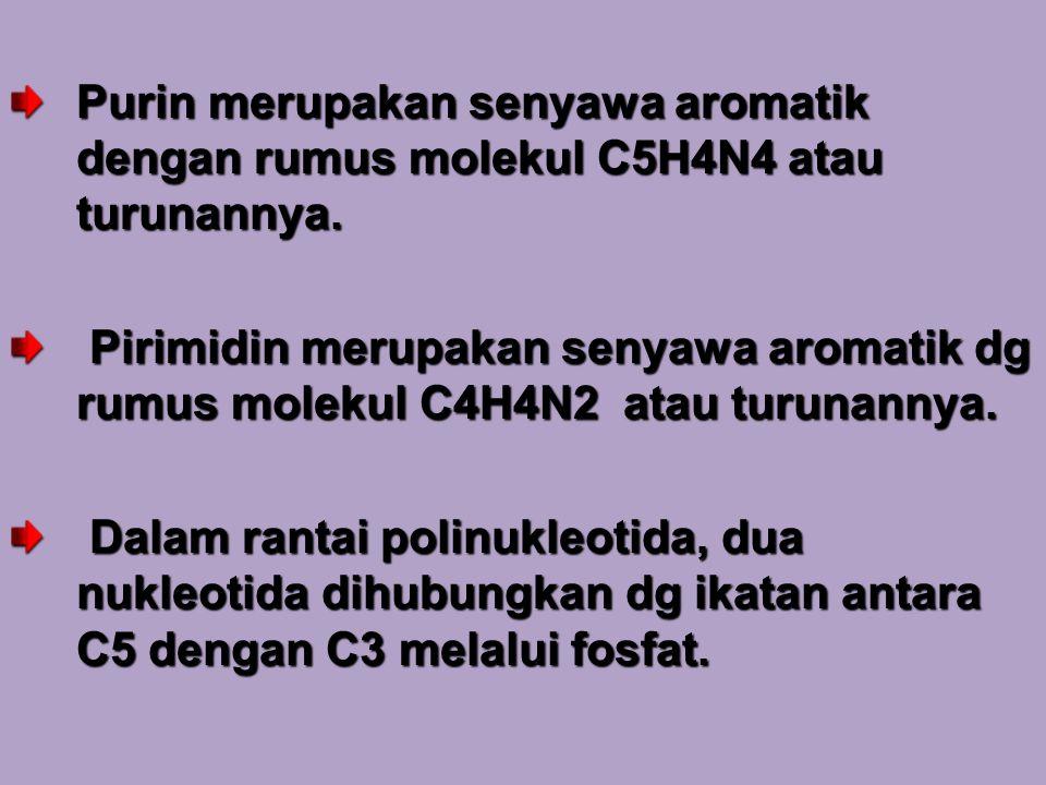 Purin merupakan senyawa aromatik dengan rumus molekul C5H4N4 atau turunannya.
