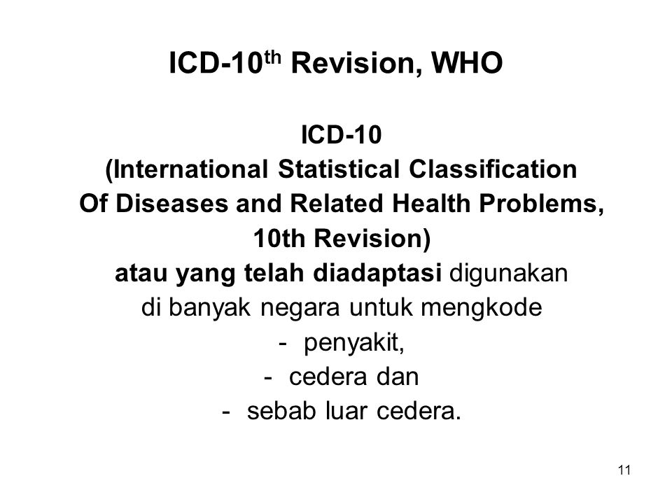 ICD-10th Revision, WHO ICD-10