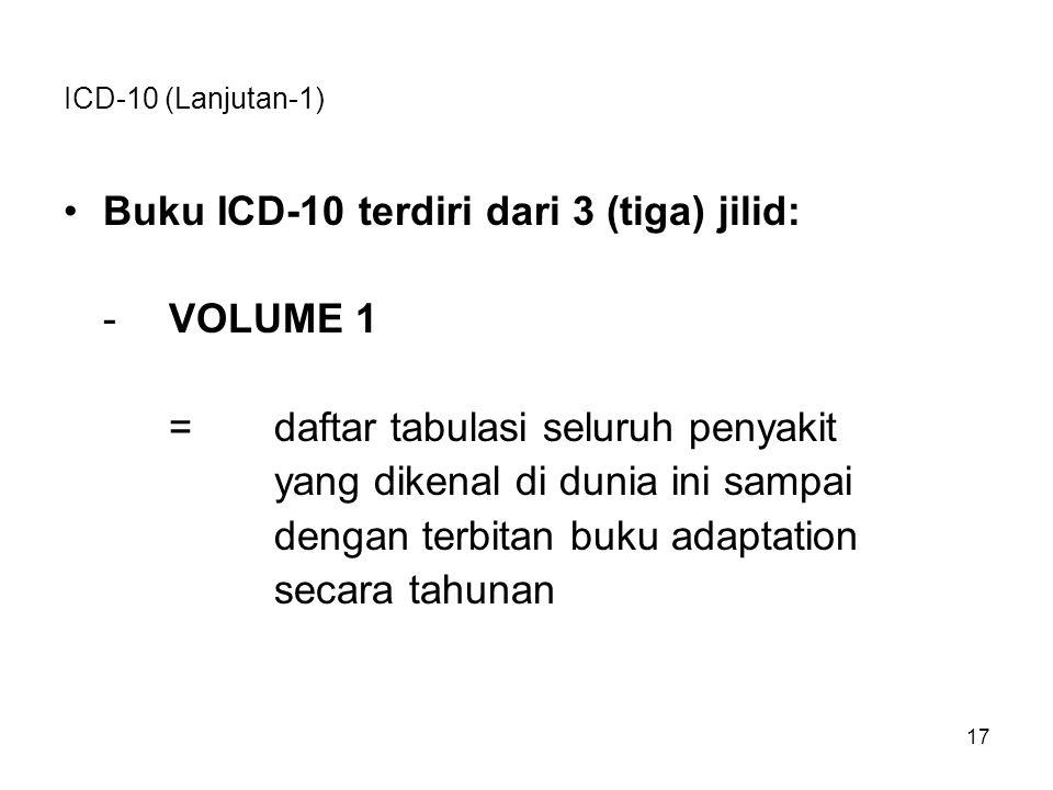 Buku ICD-10 terdiri dari 3 (tiga) jilid: - VOLUME 1