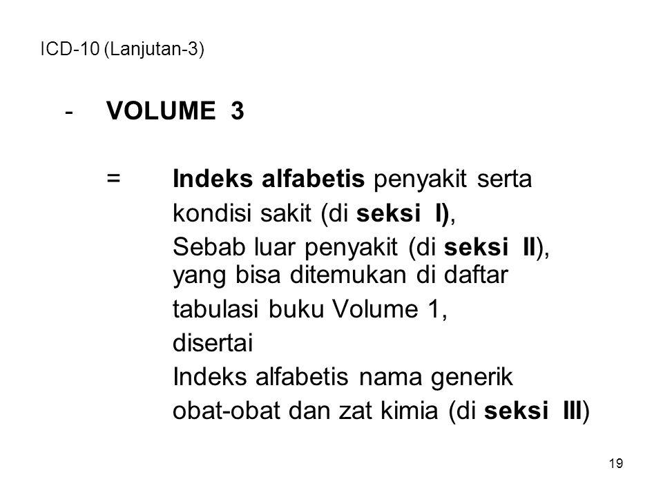 = Indeks alfabetis penyakit serta kondisi sakit (di seksi I),