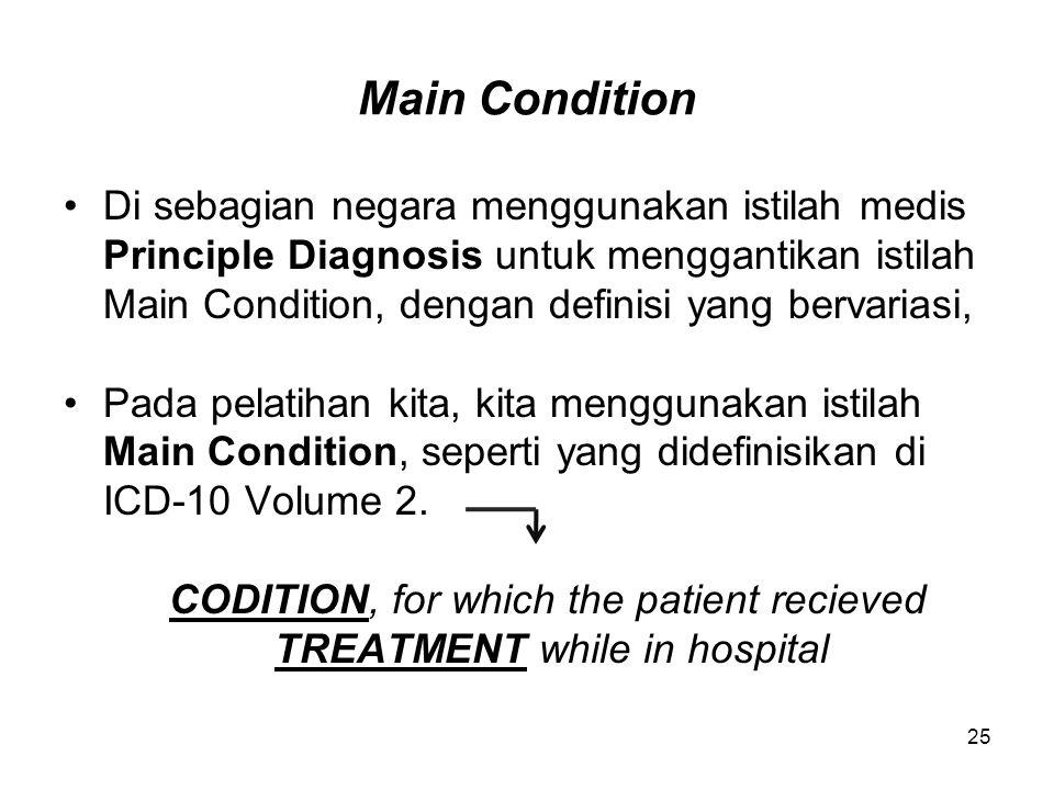 Main Condition Di sebagian negara menggunakan istilah medis