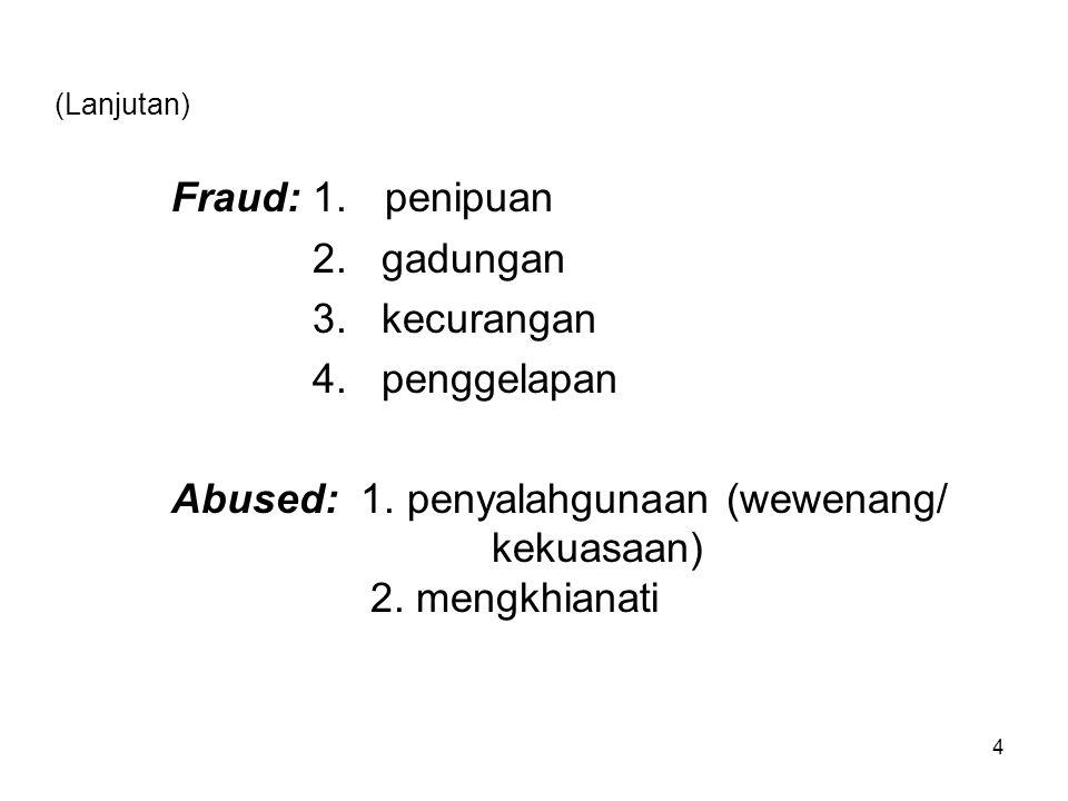 Fraud: 1. penipuan 2. gadungan 3. kecurangan 4. penggelapan