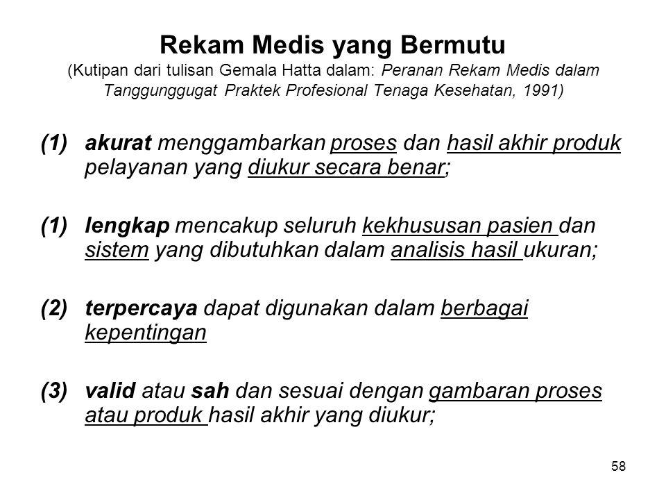 Rekam Medis yang Bermutu (Kutipan dari tulisan Gemala Hatta dalam: Peranan Rekam Medis dalam Tanggunggugat Praktek Profesional Tenaga Kesehatan, 1991)