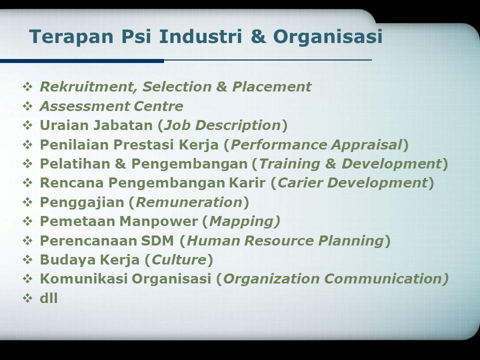 Terapan Psi Industri & Organisasi