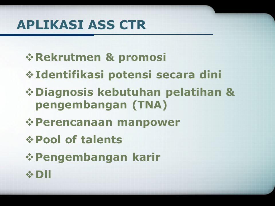 APLIKASI ASS CTR Rekrutmen & promosi Identifikasi potensi secara dini