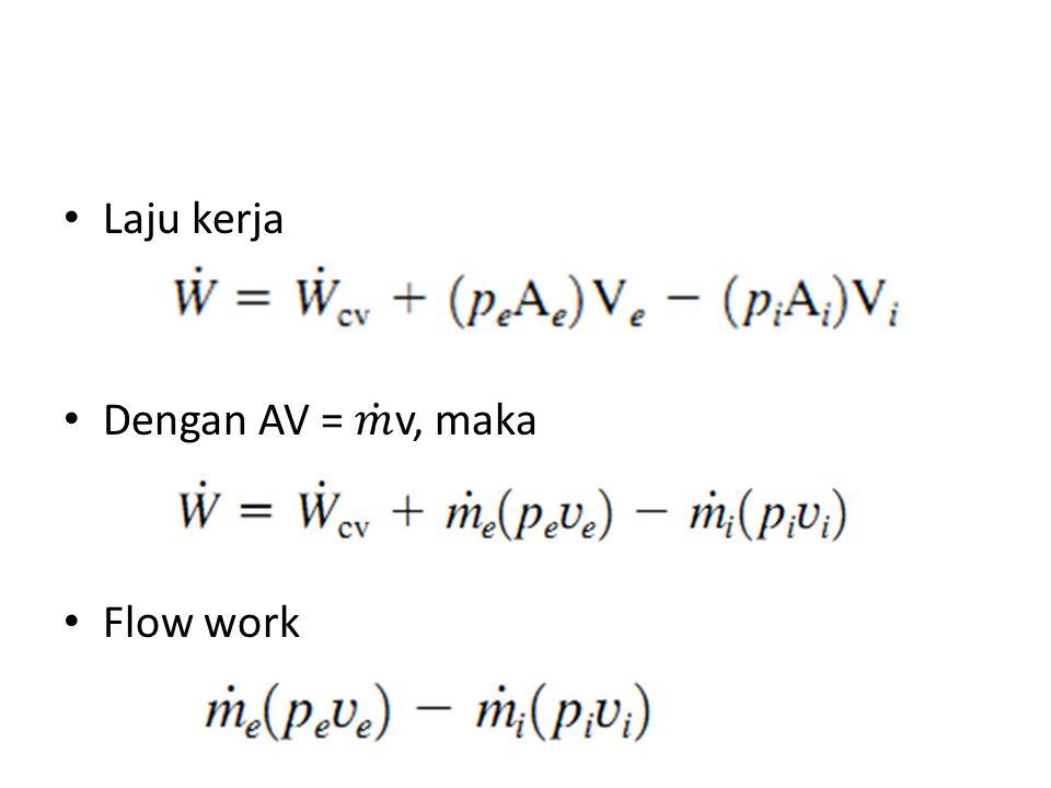 Laju kerja Dengan AV = 𝑚 v, maka Flow work