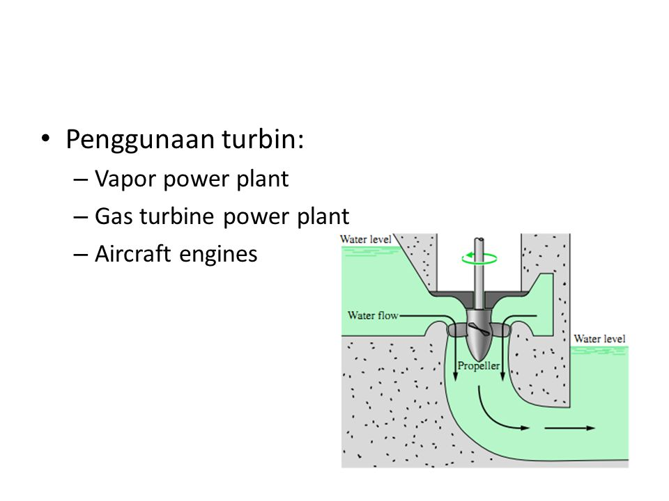 Penggunaan turbin: Vapor power plant Gas turbine power plant