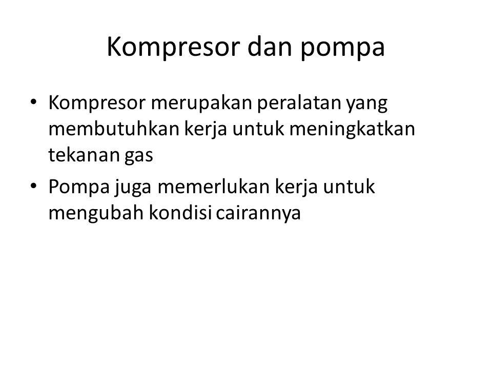 Kompresor dan pompa Kompresor merupakan peralatan yang membutuhkan kerja untuk meningkatkan tekanan gas.