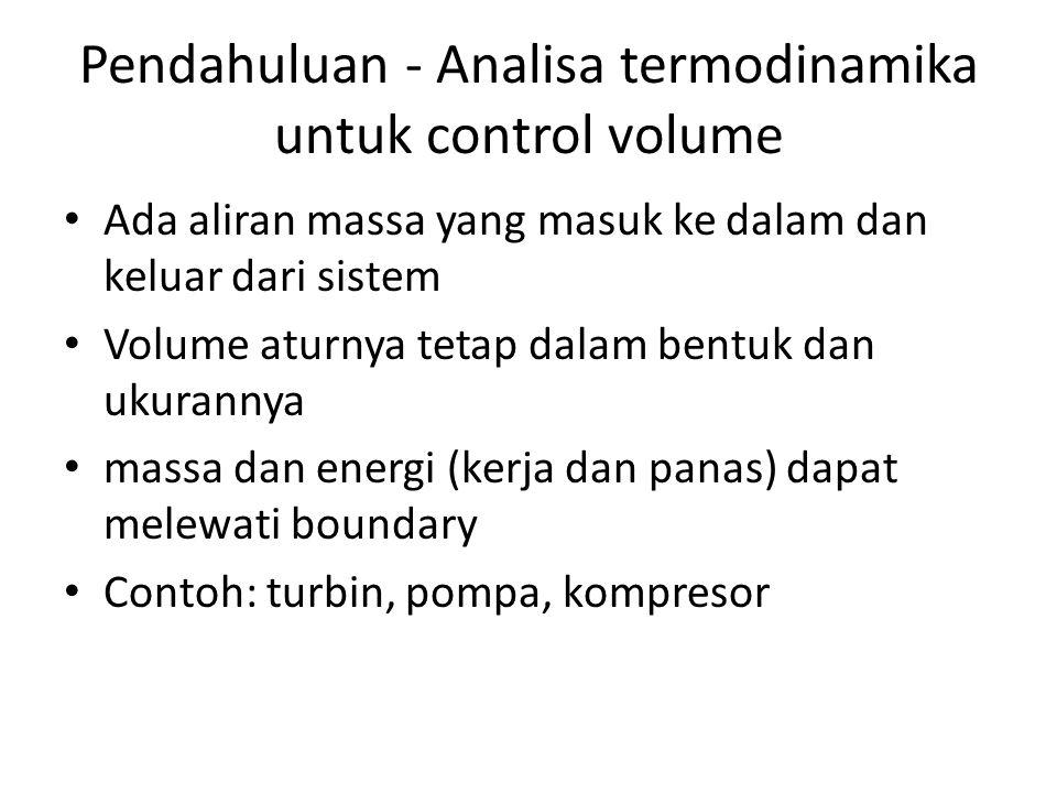 Pendahuluan - Analisa termodinamika untuk control volume