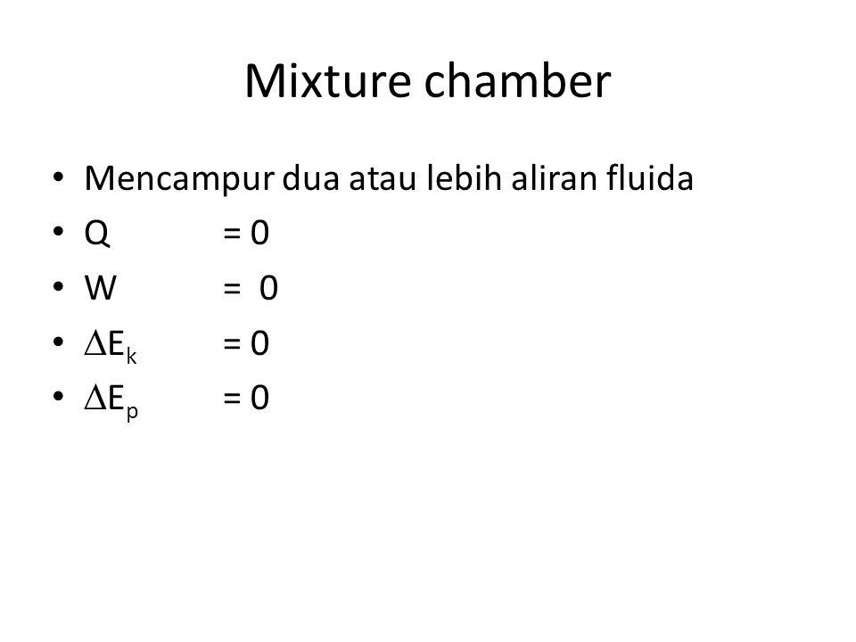 Mixture chamber Mencampur dua atau lebih aliran fluida Q = 0 W = 0