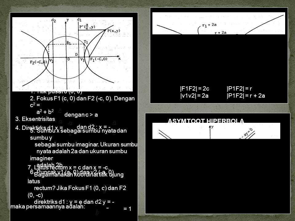 - ASYMTOOT HIPERBOLA |F1F2| = 2c |v1v2| = 2a |P1F2| = r