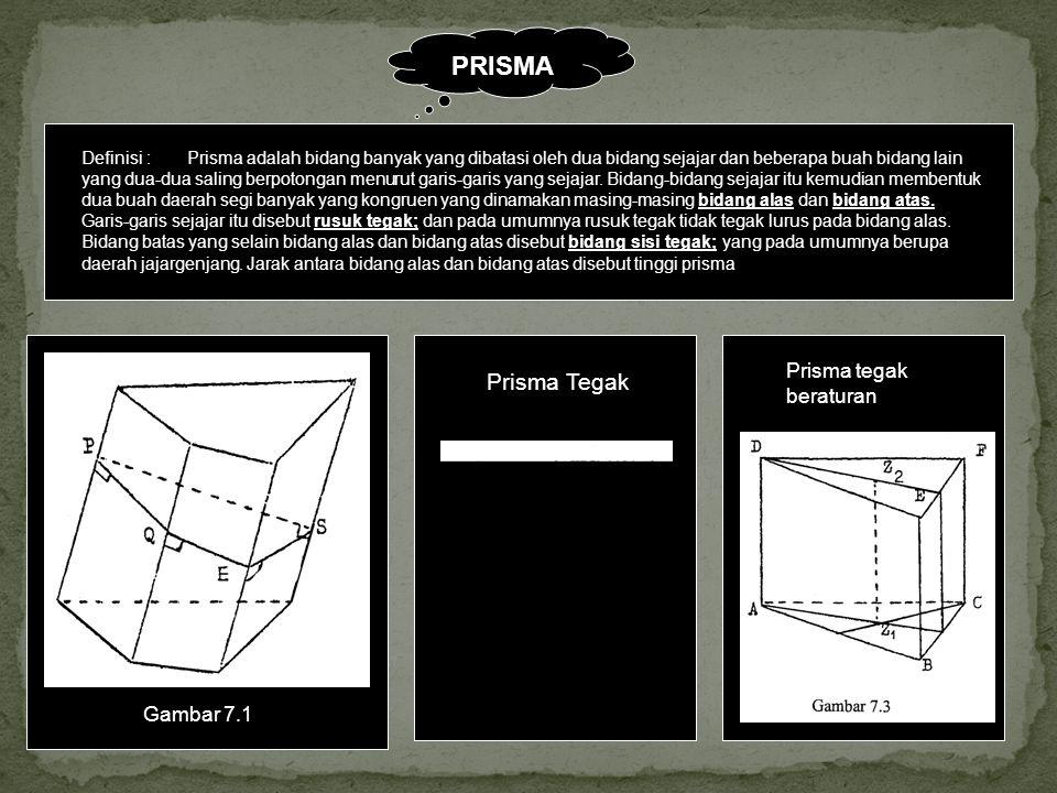 PRISMA Prisma Tegak Prisma tegak beraturan Gambar 7.1