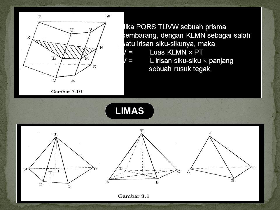 Jika PQRS TUVW sebuah prisma sembarang, dengan KLMN sebagai salah satu irisan siku-sikunya, maka