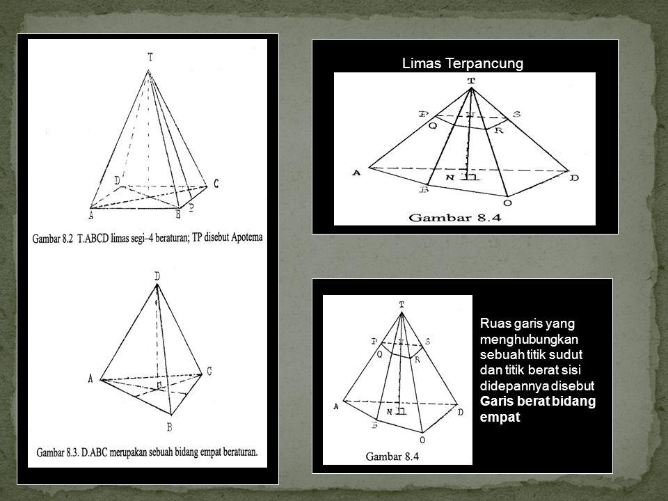 Limas Terpancung Ruas garis yang menghubungkan sebuah titik sudut dan titik berat sisi didepannya disebut Garis berat bidang empat.
