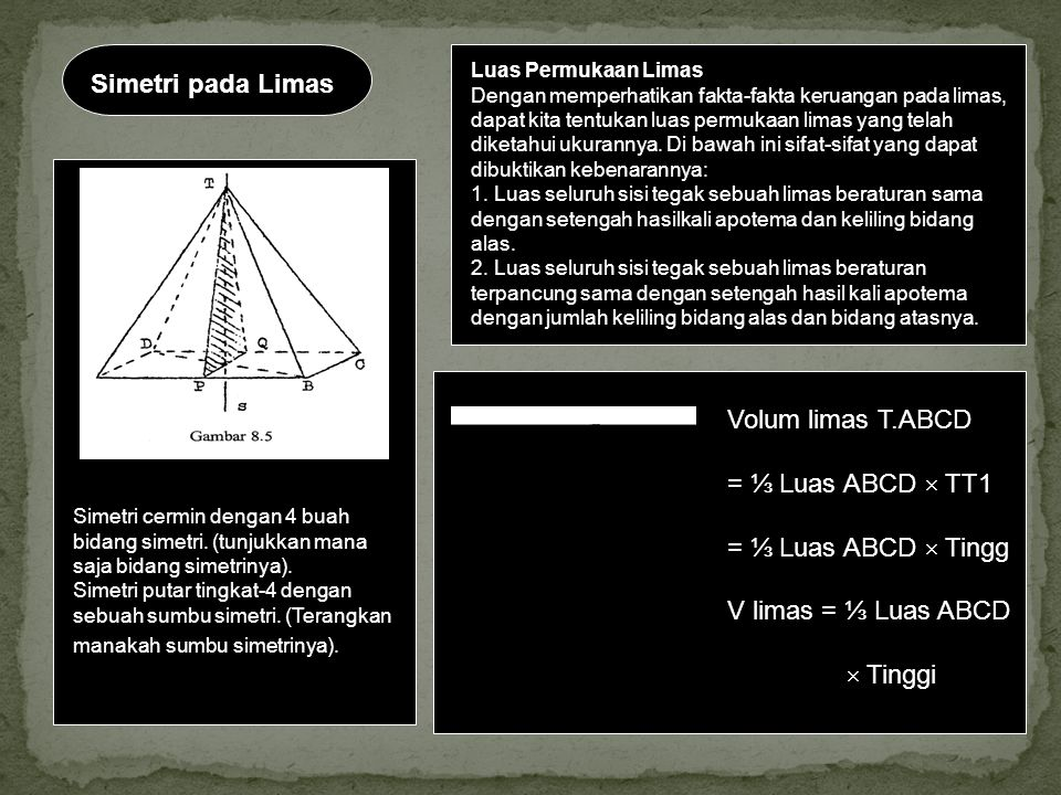 Simetri pada Limas Volum limas T.ABCD = ⅓ Luas ABCD  TT1