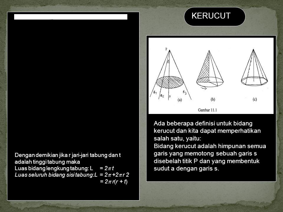 KERUCUT Ada beberapa definisi untuk bidang kerucut dan kita dapat memperhatikan salah satu, yaitu: