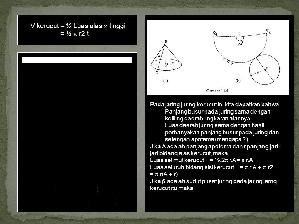 Luas selimut-kerucut V kerucut = ⅓ Luas alas  tinggi = ½  r2 t