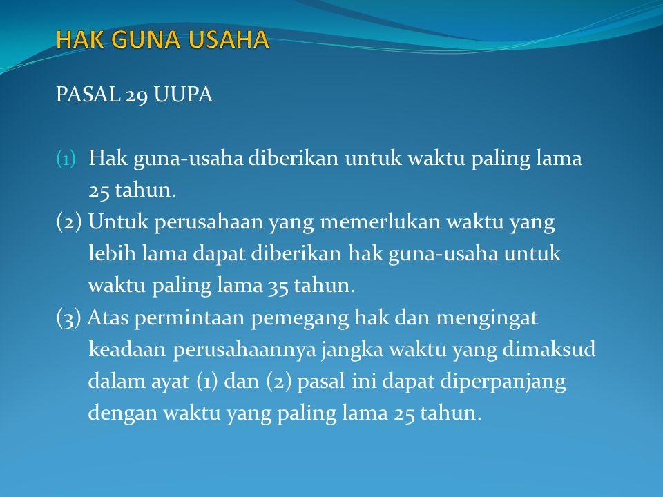 HAK GUNA USAHA PASAL 29 UUPA