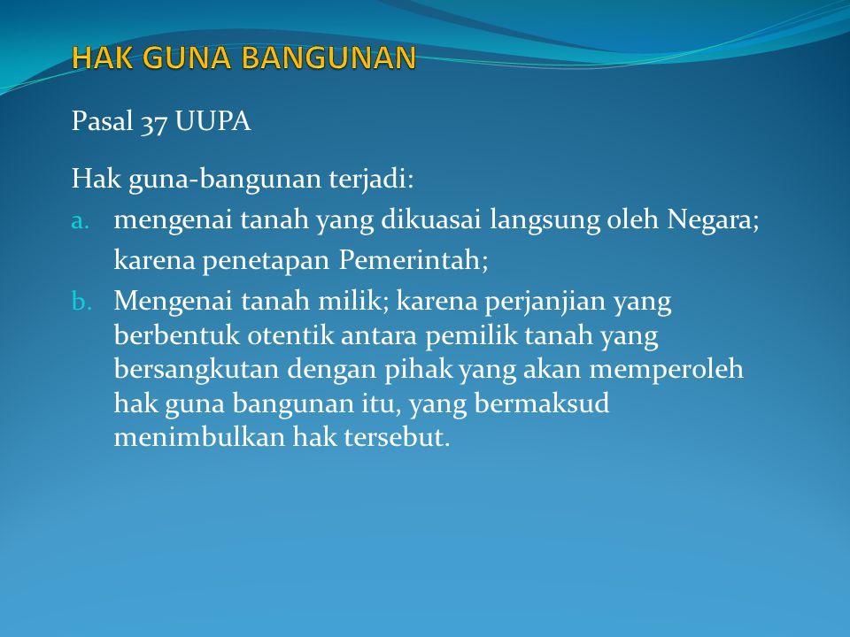 HAK GUNA BANGUNAN Pasal 37 UUPA Hak guna-bangunan terjadi: