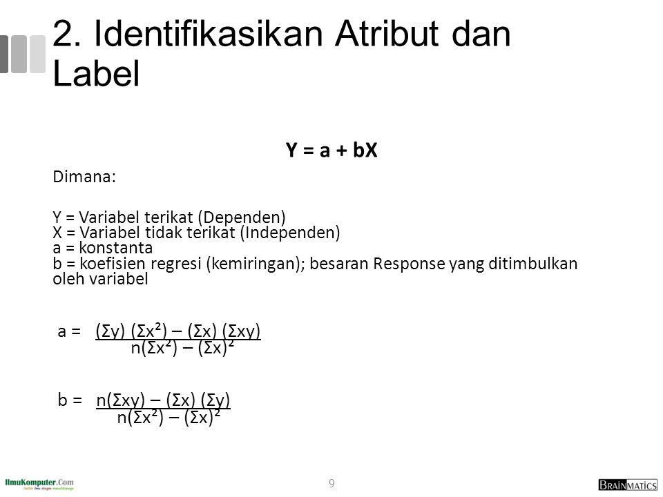2. Identifikasikan Atribut dan Label