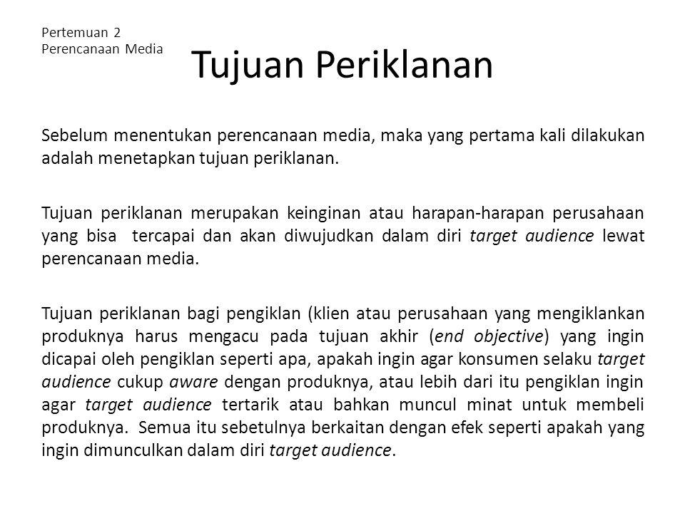 Tujuan Periklanan Pertemuan 2 Perencanaan Media.